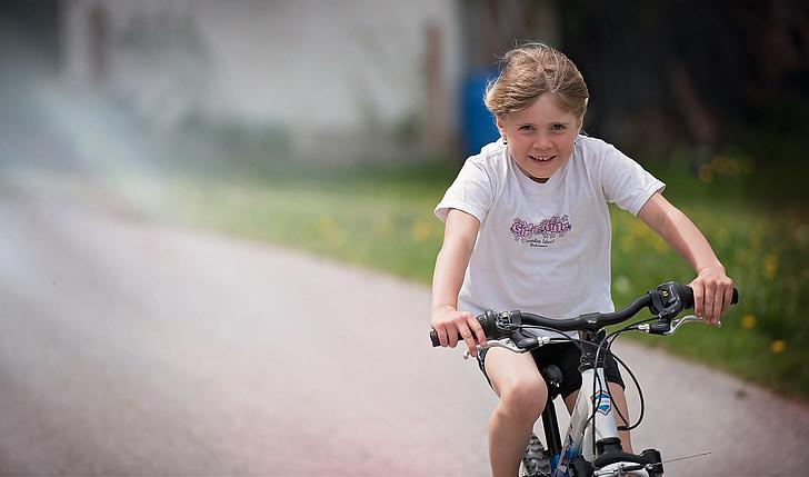 persona, humà, nen, noia, bicicleta, Ciclisme, en moviment