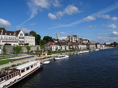 Auxerre, lebih, akhir pekan, Yonne, kota di Sungai