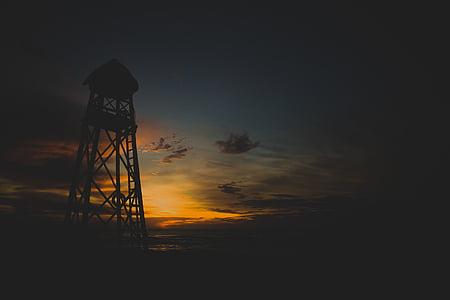 bakgrundsbelyst, moln, mörka, Dawn, skymning, kvällen, prospektering