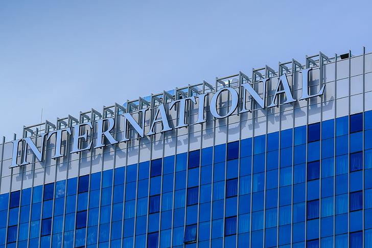 Hotel, blau, la finestra, el gratacel, vidre, d'alçada, edifici de vidre