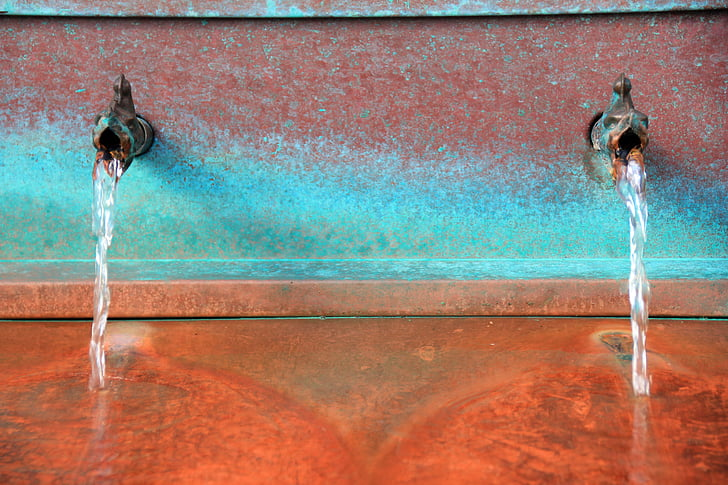 víz, vízsugár, szökőkút, piros, csíkok, Wells