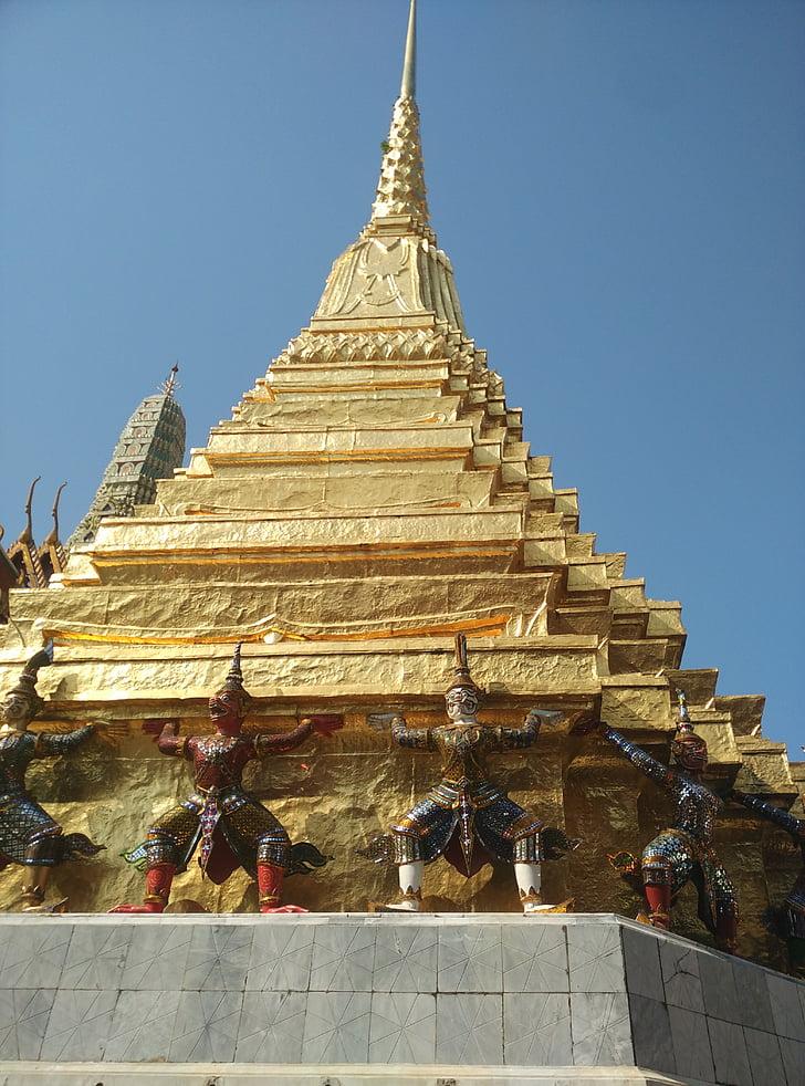 big palace, statue, bangkok