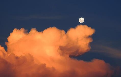 mraky, měsíc, obloha, den, měsíc ve dne, Západ slunce, Příroda