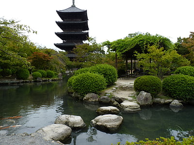Zen, Japon, Temple, Japonais, jardin public, Lac, étang