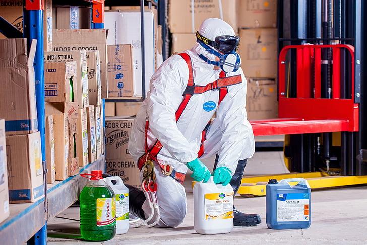 chimiste, costume, protection, sécurité, logistique, vêtements de travail, sécurité industrielle