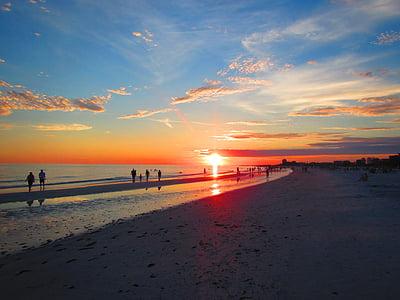 platja, posta de sol, clau de la migdiada, Florida, platja, Alba, oceà