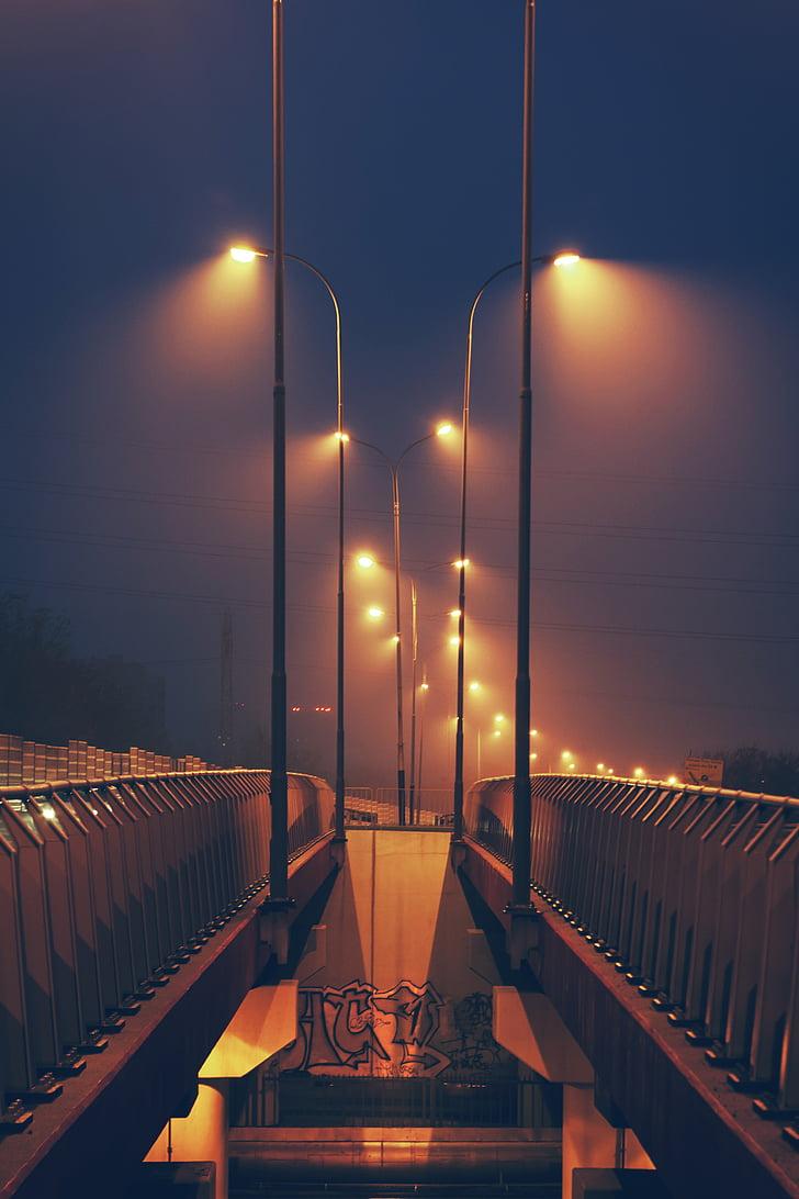 Pont, Fanals, llums, nit, cel, carrer, Fanals
