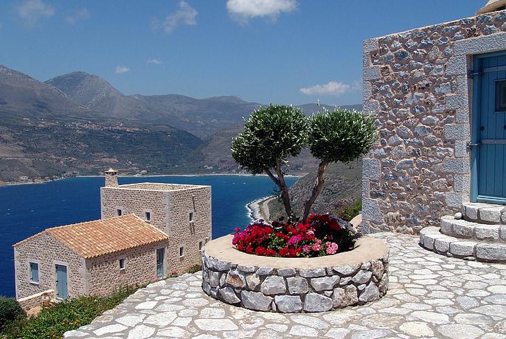 Grècia, cases, veure, Hellas, Península de Mani, Mani, terrassa