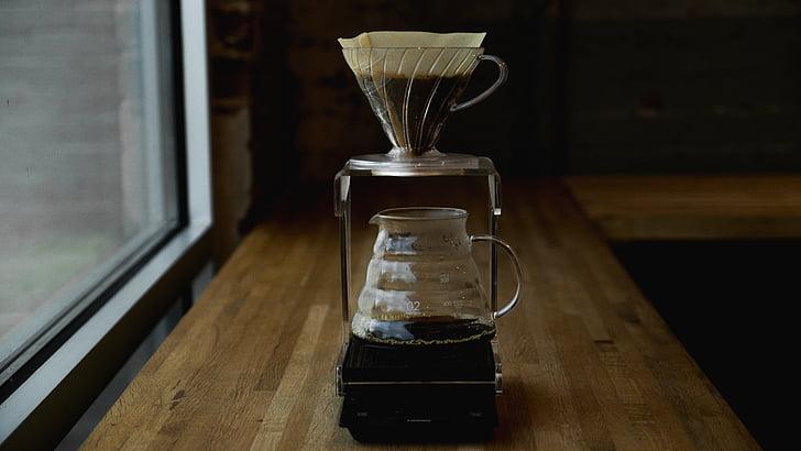 cafeïna, cafè, màquina de cafè, cafetera, taula