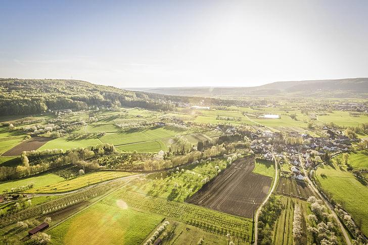 vista d'ocell, paisatge, paisatge, zona rural, sunglare, sol, poble