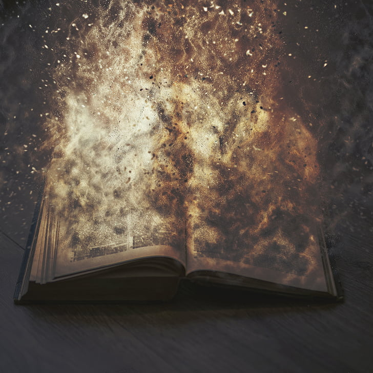 book, pages, sheet, novel, letters, fire, sparks