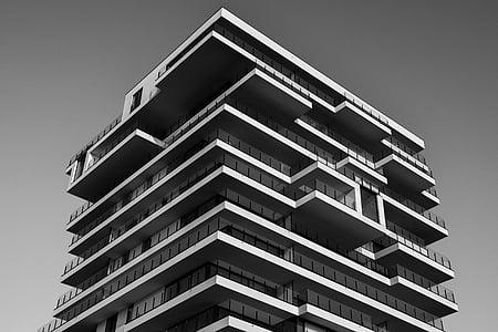 Apartemen, arsitektur, hitam-putih, bangunan, perusahaan, kaca, pencakar langit
