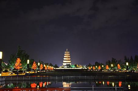 Xi ' an, la Oca salvatge gran pagoda, vista nocturna