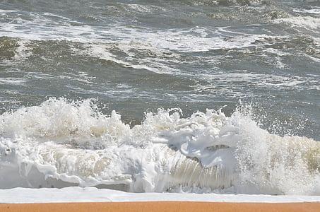laut, gelombang, busa, laut, air, Pantai, latar belakang