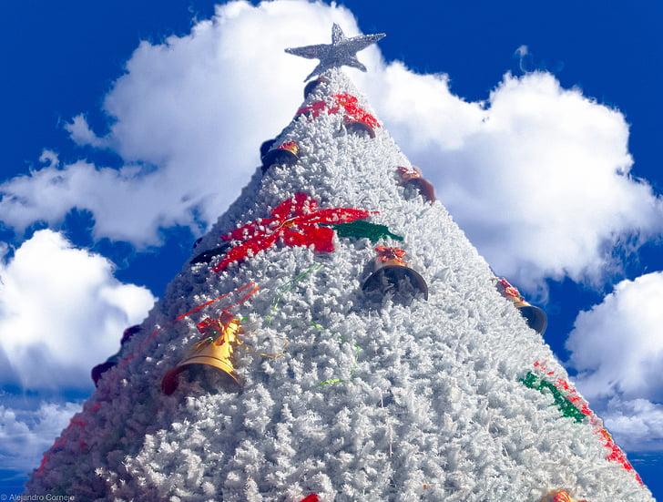 Nadal, arbre, cel, blau, núvol, Nadal, blanc