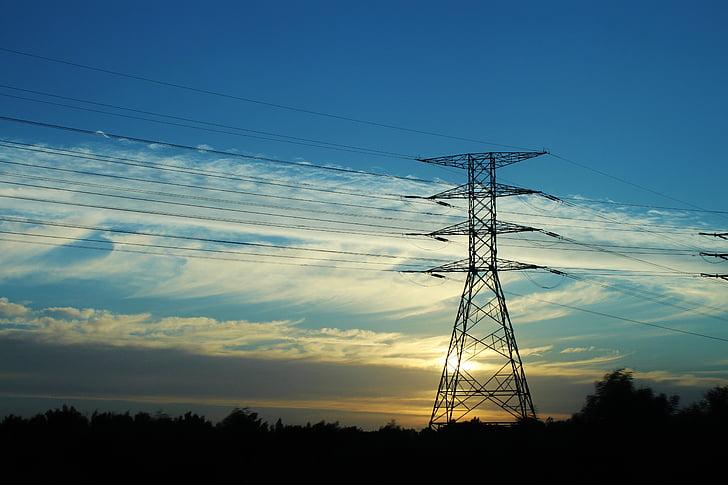 strommast, posta de sol, piló electricitat, atmosfèrica, electricitat, actual, línia de poder