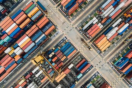 container, van, aerial, view, block, street
