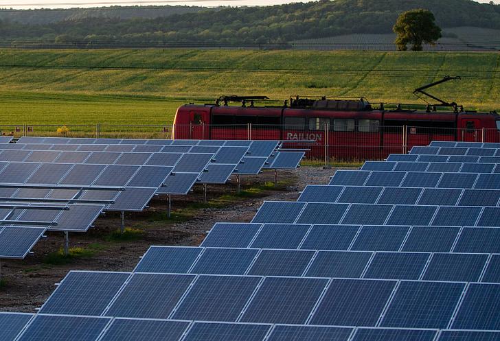 zonnecellen, fotovoltaïsche zonne-energie, huidige, energie, zonne-energie, trein, Zonne veld