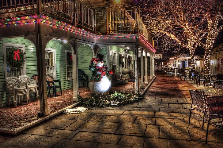 눈사람, 겨울, 마, 도시, 크리스마스 장식, 크리스마스, hdr