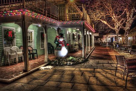 ninot de neu, l'hivern, ciutat, urbà, decoració de Nadal, Nadal, HDR