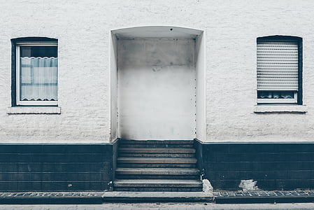 buildings, house, windows, blue, white, stairs, architecture