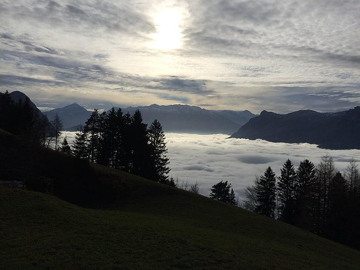 легкий снігопад, abendstimmung, Осінь, Природа, краєвид, дерева, Гора