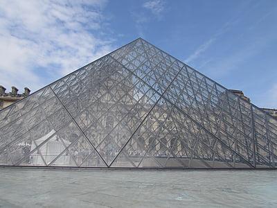 Pariis, Louvre, muuseum, klaasist püramiid