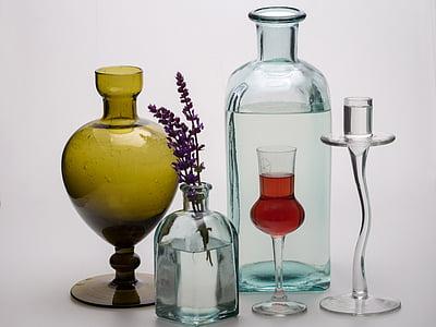 Stilleven, flessen, bloemen, glas, formulier, vaas, decoratie