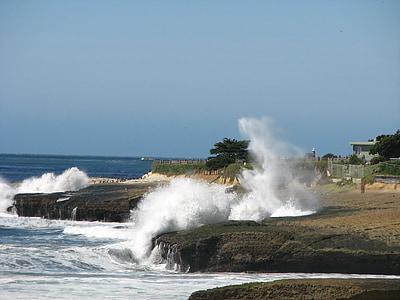 κύματα, συντριβή, παραλία, Ωκεανός, βουτιά, πιτσίλισμα, Ακτή