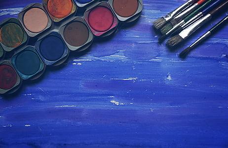 seni, perlengkapan, artis, biru, sikat, warna, kreatif