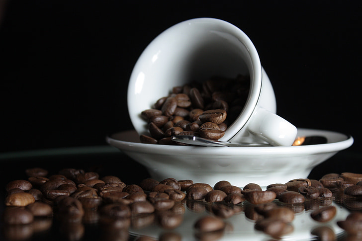 咖啡, 杯, 咖啡杯, 咖啡厅, 勺子, 香气, 豆子