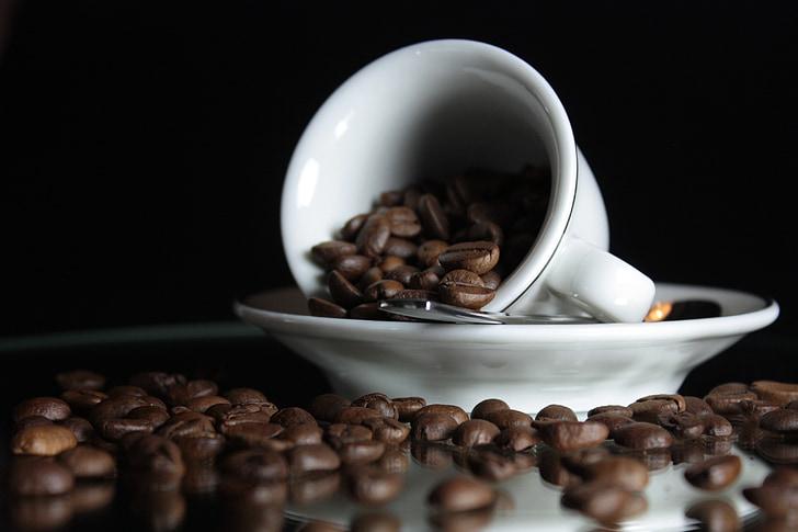 kahvi, Cup, kahvikuppi, kahvila, lusikka, tuoksu, pavut