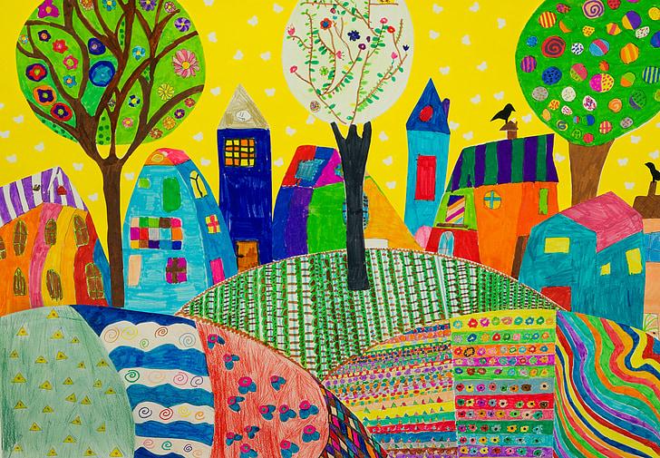 children's drawings, coloring, village, garden, table, illustration, vector