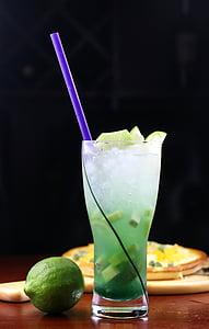 jää, jook, sidruni, kokteil, puu, jook, värskuse