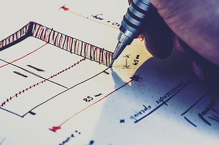 architecture, conception, Dimensions, dessin, main, stylo, croquis