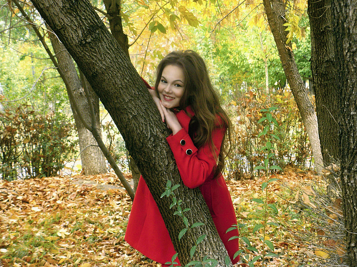 autumn, little red riding hood, girl, autumn leaves, tree, nature, stroll