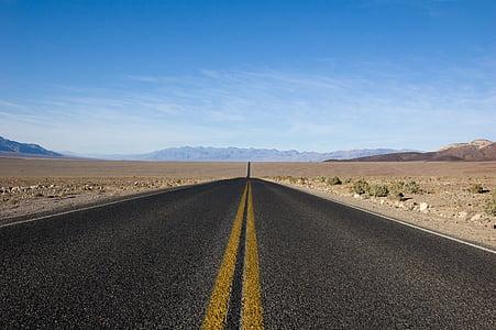 fotos, mai, acabant, carretera, l'autopista, paviment, desert de