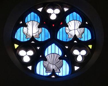扇贝, 教会的窗口, 朝圣, 教会, 窗口, 彩色玻璃, 彩色玻璃窗口