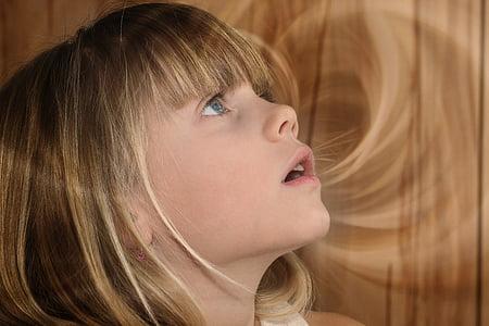 dítě, Děvče, Blondýna, obličej, pohled, ohromil, portrét