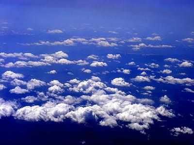 núvol, cel, dia, blau, la boira, altitud
