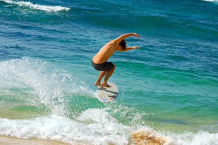 surfeur, vagues, Hawaii, Kauai, océan, mer, sport