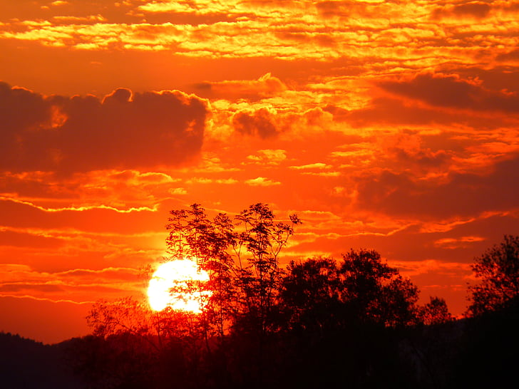 abendstimmung, solnedgång, Sky, Romance, solen, naturen, orange färg