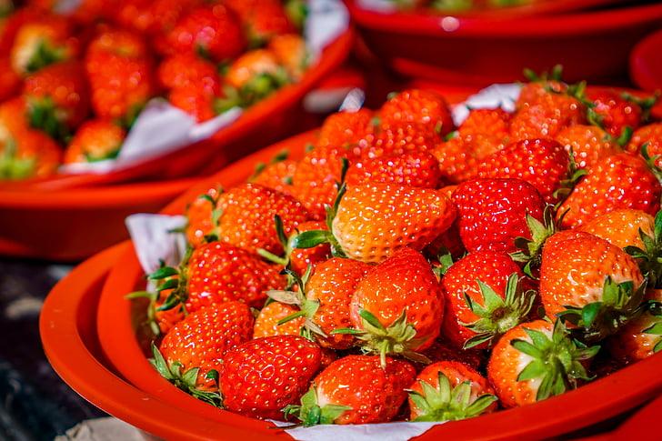 maduixes, fruita, baies, postres, Sa, Orgànica, deliciós