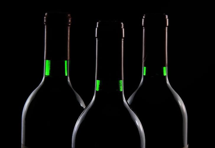 three, amber, glass, bottles, wine, Wine bottles, dark