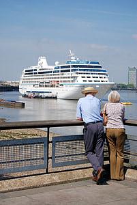 Cruise, liner, turisme, hav, kommer, frakt, reise