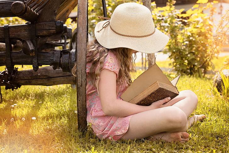 persona, humà, femella, noia, barret, llibre, llegir