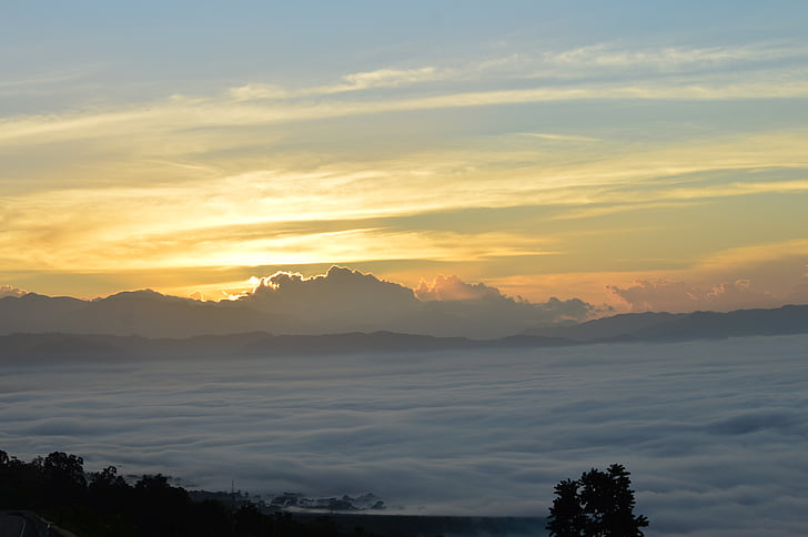 soluppgång, dimma, morgon, naturen, Mountain, solnedgång, landskap