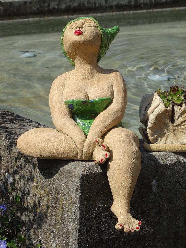 Art, escultura, dona, badenixe, nedador, estàtua