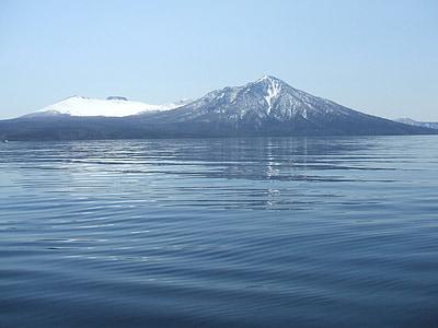 Japão, Hokkaido, Lago shikotsu, Sapporo, Lago, natural, Inverno