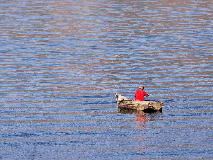 Guatemala, jazera atitlán, rybár, samota, Drevený čln, loďou, Atitlan